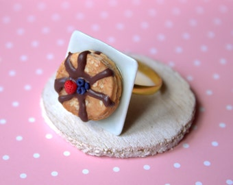 Pancakes food ring, miniature food ring, polymer clay dessert jewelry