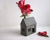 Weathered grey bud vase house - miniature geometric structure with flower vase - valentines gift - housewarming - little architecture