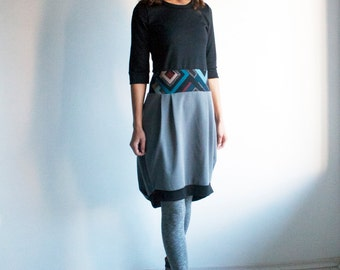 Asymmetrical dress, t-shirt dress, grey dress, casual dress for women