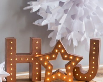 Handmade Light Up Letters With Marquee Star, marquee light, light up letters, light up heart, weddings, letter lights