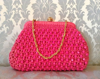 1960s Vintage Purse Hot Pink Straw and Beads Barbara Lee Made in Italy