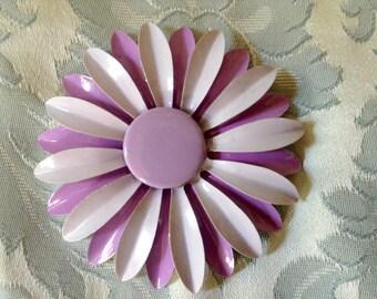 1960s Vintage Large Flower Brooch Lavender Purple