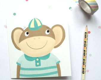 SALE Monkey Greetings Card - Monkey Birthday Card - Kids Birthday Card - Childs Birthday Card - Card For Boys