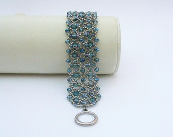 Jeans blue and gold filigree Beads Bracelet