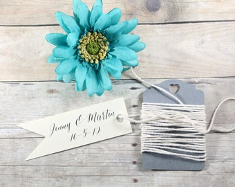 Custom Wedding Favor Tags 20pc - Personalized Ivory Wedding Flag Tags - Cream Bridal Shower Tags - Flag Shaped Tags in Cream