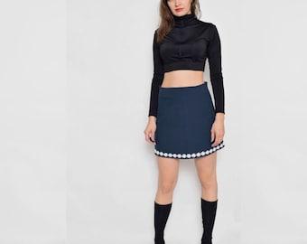 Vintage 90's Navy Blue High Waisted Skirt / Embellished Blue Mini Skirt - Small