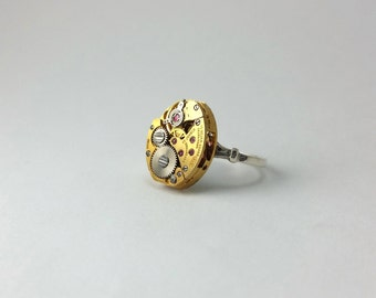 Steampunk Watch Ring Steampunk Ring Steampunk Jewelry Statement Ring Sterling Silver Ring Vintage Ring Steampunk Watches Gothic Ring 6.5