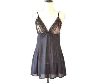 Baby Doll Negligee - Vintage 70s Black Naughty Lingerie - Sheer Lace Witchy Black Lingerie