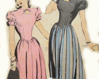 Vintage Hollywood 1815: NEVER USED 1940's USO Sweetheart Modest One-Piece Fitted Bodice Full Skirt Dress Sewing Pattern