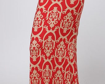 Women's Plus Red Patterned Maxi Skirt