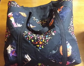 tote, black, orange, Halloween, Betty Boop, purse, diaper bag, grocery bag