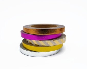 Slim Foil Washi Tape Collection - Copper, Gold, Silver & Pink - 5 x 5mm Tapes