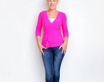Pink Shirt, Pink Wrap Top, Pink Wrap Around Top, Pink Convertible Shirt, Pink Maternity Top, Pink Yoga Top, Womens Summer Top, Yoga Top,