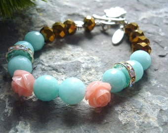 amazonite and crystal vintage inspired like Downton Abbey bracelet, with romantic victorian flower bracelet charms for 1920s  boho chic