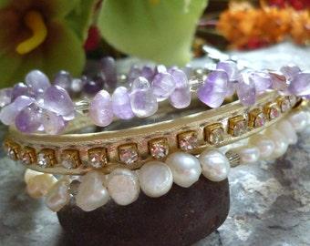Leather bracelet, freshwater pearl, bracelet, amethyst bracelet, bracelet perles eau douce, bracelet amethyst, bijouxgeisha, cuir bracelet