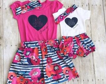 Girls big sis outfit, big sister shirt, little sister shirt, sibling shirts, pregnancy announcement shirt, baby announcement shir