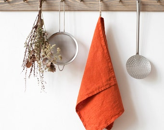 Orange Stone Washed Linen Tea Towel