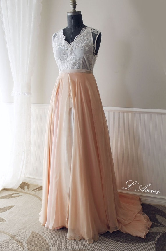 Romantic Blush Skirt With Lace Top Boho Wedding Dress By