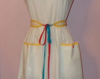 Vtg 70s PB & J Label Indie Cotton Dress Contrast Bright Color Piping Trims Matching Belt S M
