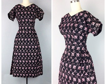 50s Black and Pink Embroidered Dress - 1950s Vintage Floral Party Dress - Small - Size 4