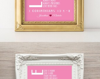 Valentines Day Gift 1 Corinthians 13 4 8 PERSONALIZED Print 1st Anniversary Gift Scripture Love Never Fails Wedding Gift Wall Decor