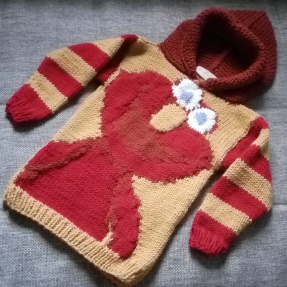 Elmo-inspired hand-knitted childrens hooded sweater