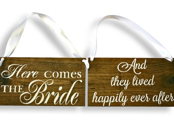 REVERSIBLE Here comes the Bride Sign DOUBLE SIDED They Lived Happily Ever After Rustic Wedding Wood Sign Wooden Signs