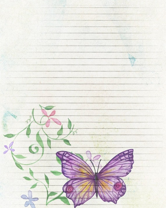Printable Journal Page, Butterfly Digital Paper, Lined Stationery, 8 X 10  JPG Instant Download, Scrapbooking Paper, Butterfly Lined Paper From ...  Lined Stationary Paper