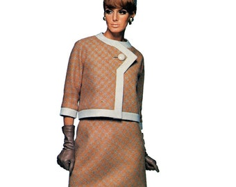 1960s VOGUE 1636 MOD DRESS & Jacket Pattern Asymmetrical Jacket Pierre Cardin Vogue Paris Original Bust 31 Size 10 Womens Sewing Patterns