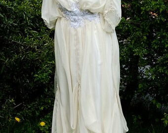 Cream Edwardian wedding dress with pearls and silver beads Downton Abbey inspired handmade in England Lady Mary styled Made to order
