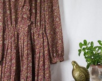 Burgundy Floral Print Grannie Dress Midi