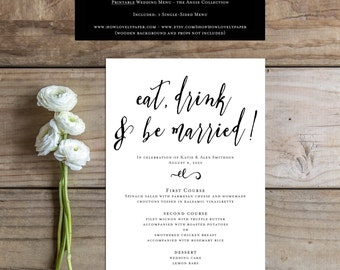 Printable Wedding Menu - the Angie Collection - Printable Menu - Dinner Menu
