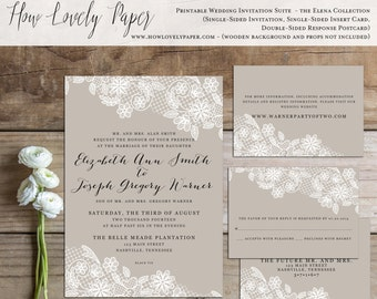 Printable Wedding Invitation Suite - the Elena Collection