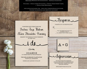 Printable Wedding Invitation Suite - the Ella Collection