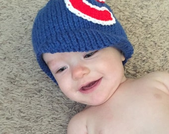 Chicago Cubs Baby Girl or Boy Baseball Hat and Diaper Cover Set for the Sports Fan