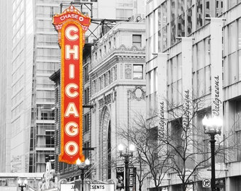 Chicago photo print, black and white art, red neon, city photography, large picture, wall decor canvas 8x10 12x12 16x20 12x18 20x30 30x45