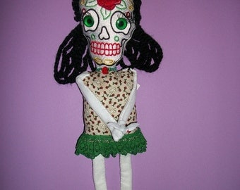 PALOMA Dia de Los Muertos Day of the Dead Cloth Art Doll