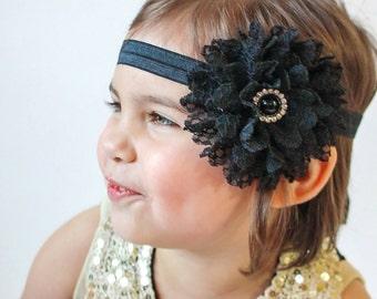 Black Flower Headband, Black Headband, Black Lace Headband, Black Hair Bow, Baby Headband, Flower Girl Headband, Wedding Headband, Black Bow