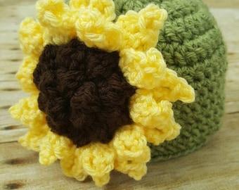 Crochet sunflower hat - sunflower hat - baby hat - crochet hat - crochet sunflower