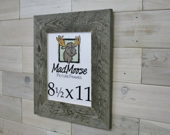 """8.5x11 Barn Wood [Thin x 3""""] Picture Frame... (aka Reclaimed Wood Wall Hanging, Rustic Weathered Wood Frame, Gray Wood Wall Hanging)"""