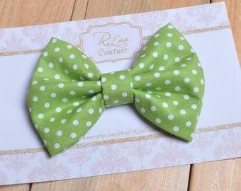 Green Mini Dot Hair Bow