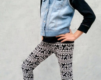 Girls/Kids Monster and Skull Printed Leggings for Riot Grrrls, Punk and Goth Kids