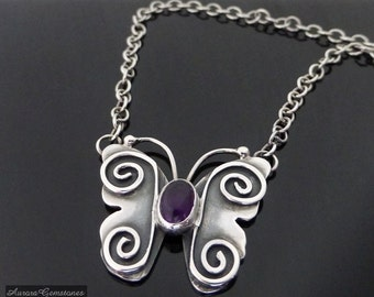 Big Silver Butterfly Necklace with Amethyst, butterfly necklace, sterling silver butterfly necklace