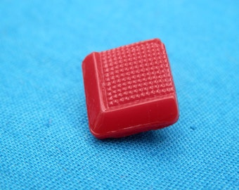 Small  Red Glass  Button Square