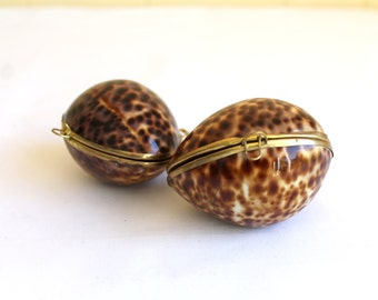 Vintage Pair of Cypraea Tigris Shell Jewelry Cases
