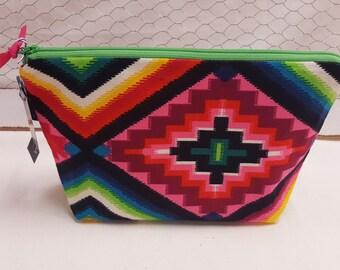 Makeup bag, Cosmetic pouch, Aztec design