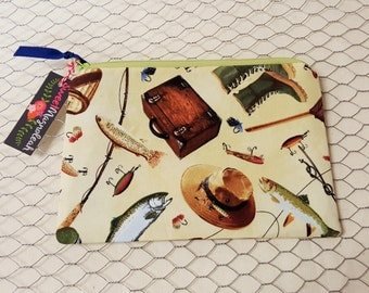 Zipper pouch, Travel pouch, Pencil pouch, Fishing gear