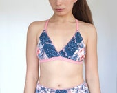 Star Canstellations and Florals Design criss cross straps simple wireless bra.
