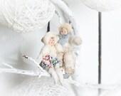 1900th antique spun cotton Christmas ornament Russia  Boy  girl Christmas home decor Nursery decor Retro