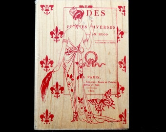 LARGE Art Rubber Stamp, Tapestry by Jill Meyer, Paris France Diva, Victor Hugo Book Opening, Famous Old Posters, Free Shipping !